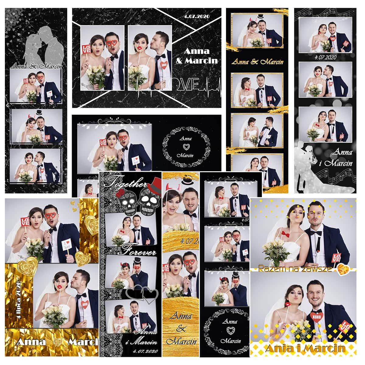 szablony fotobudkowe weselne 2020