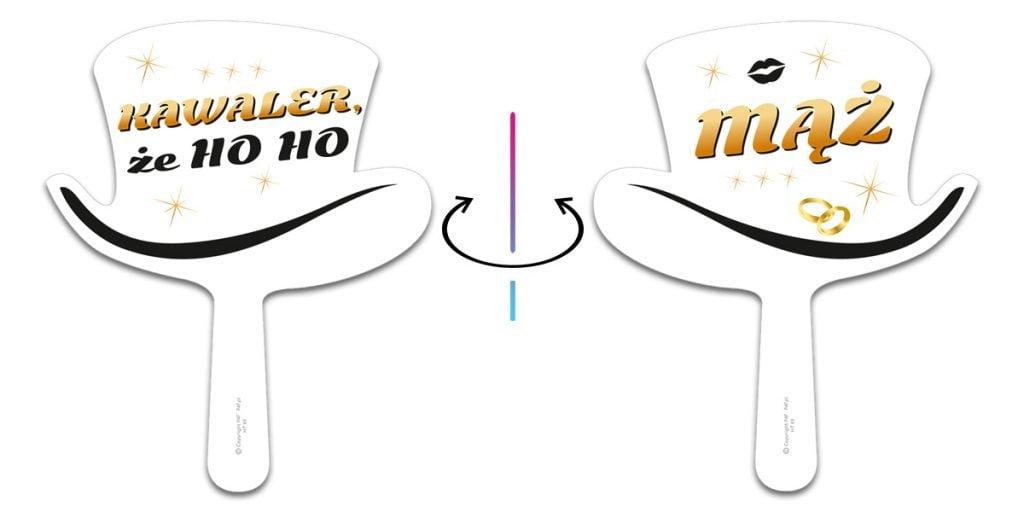 Tabliczki do fotobudki dwustronne - kapelusze - z uchwytem