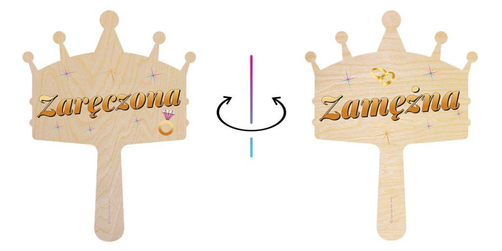 Tabliczki do fotobudki dwustronne - korony - z uchwytem
